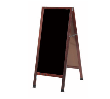 "Aarco Products MA-311SB A-Frame Sidewalk Black Porcelain Markerboard with Cherry Stained Solid Red Oak Frame, 42""H x 18""W"