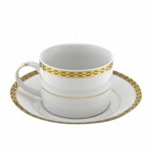 10 Strawberry Street ATH-9G 8 oz. Athens Gold Can Cup and Saucer Set