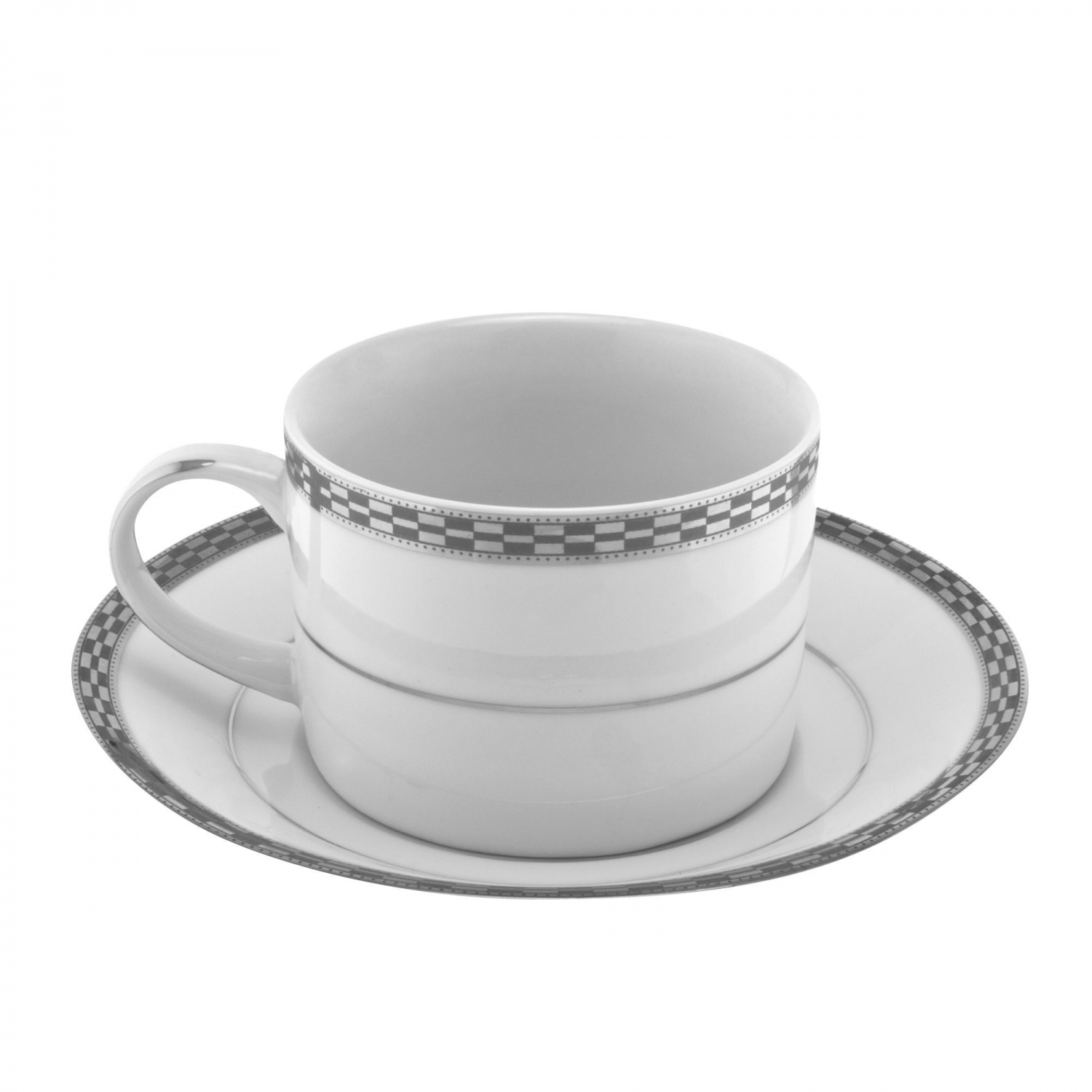 10 Strawberry Street ATH-9P 8 oz. Athens Platinum Can Cup and Saucer Set