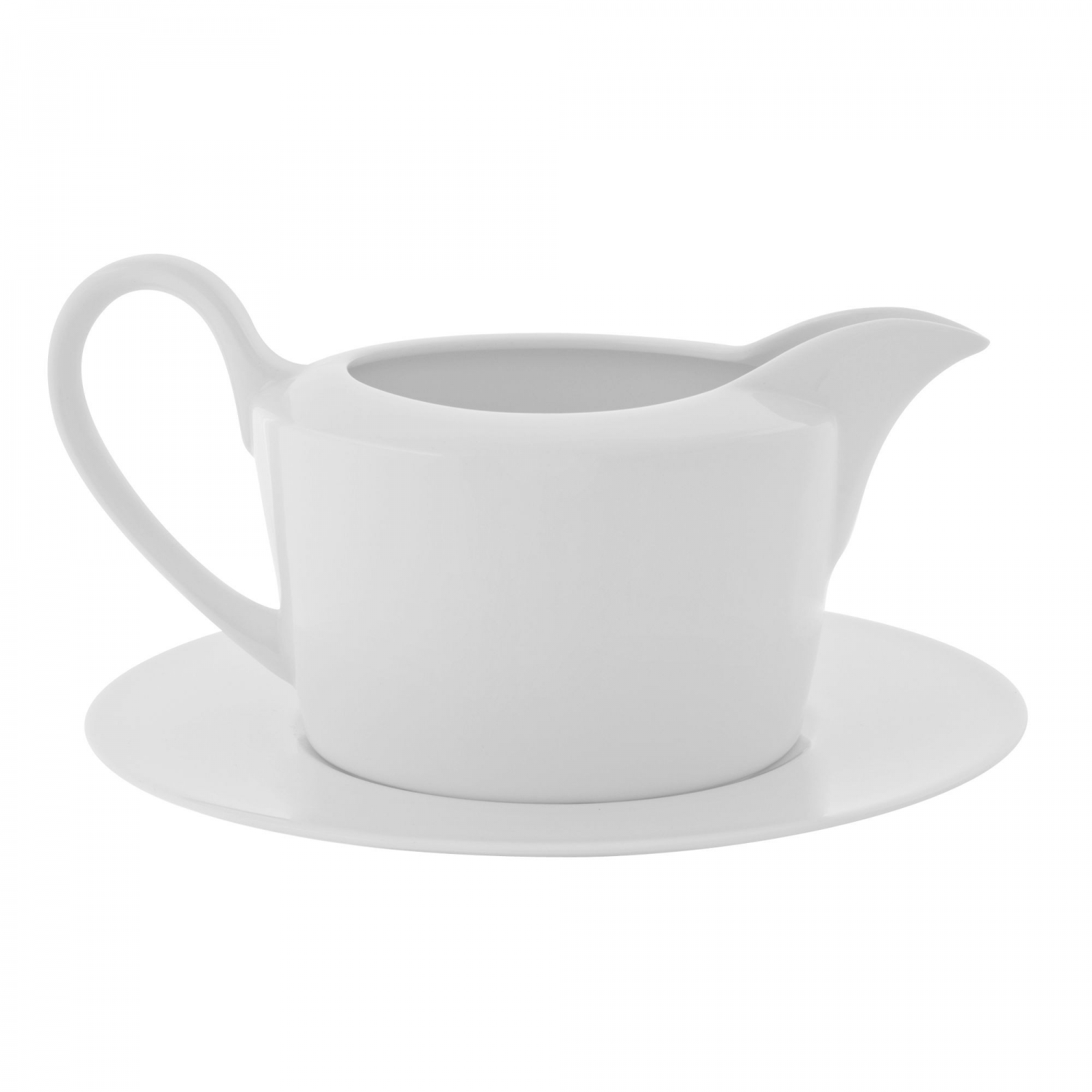 10 Strawberry Street AUR-25 16 oz. Aurora Square Gravy Boat and Saucer