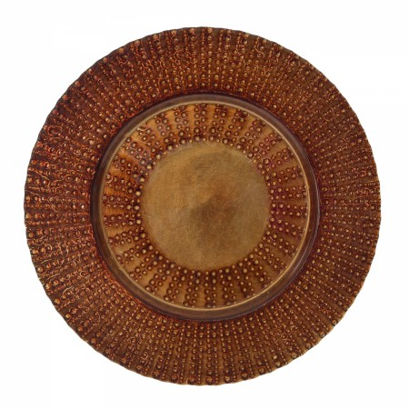 "10 Strawberry Street AZT-340CPR  Aztec Copper Glass Charger Plate 13"" - 6 pcs"