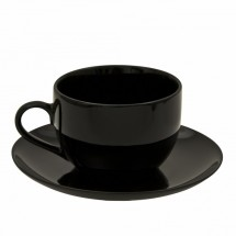 10 Strawberry Street BCP0009 8 oz. Black Coupe Can Cup and Saucer