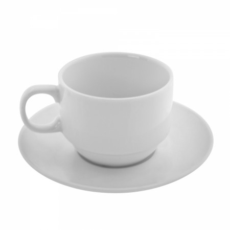 10 Strawberry Street BISTRO-10 6 oz. White Tea Cup and Saucer Set