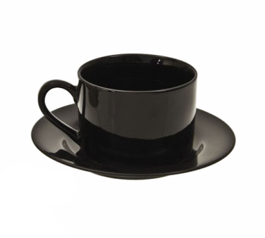 10 Strawberry Street BRB0009 6 oz. Black Rim Can Cup and Saucer