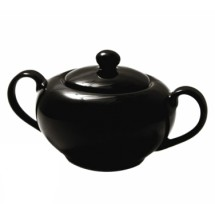 10 Strawberry Street BRB0018 8 oz. Black Rim Sugar Bowl with Lid