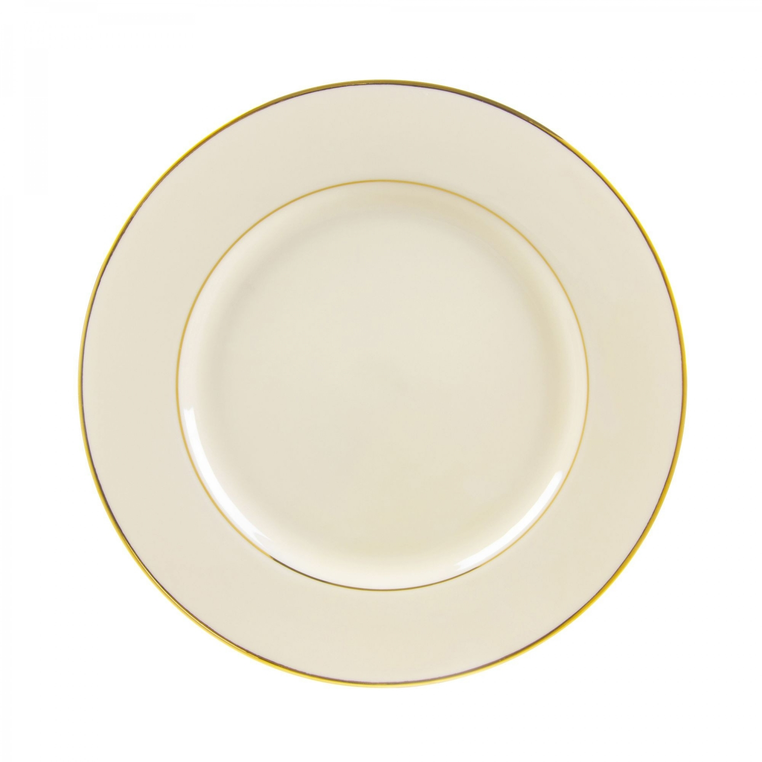 "10 Strawberry Street CGLD0001 10-3/4"" Cream Double Gold Line Dinner Plate"