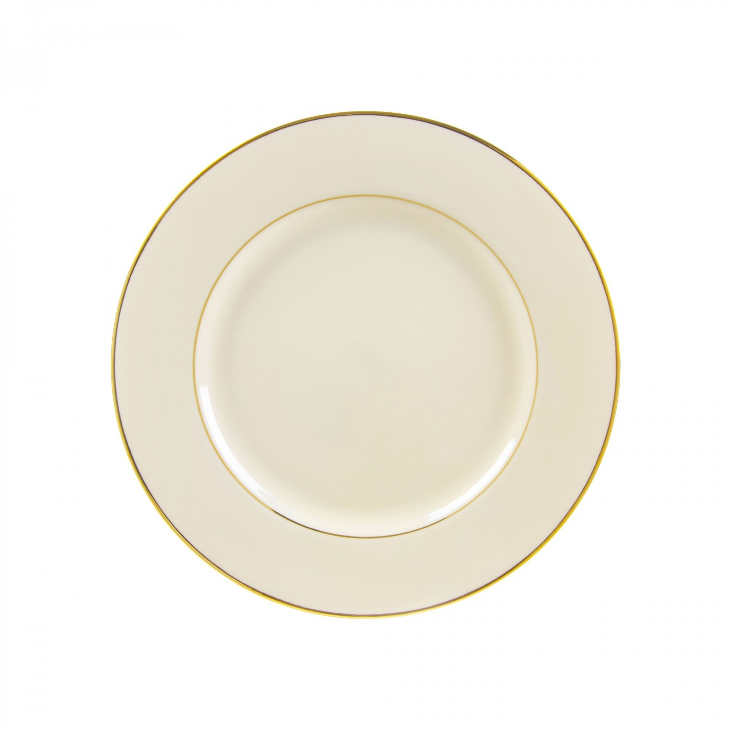 "10 Strawberry Street CGLD0002 9-1/8"" Cream Double Gold Line Luncheon Plate"