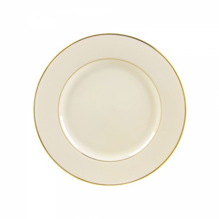 """10 Strawberry Street CGLD0002 9-1/8"""" Cream Double Gold Line Luncheon Plate"""