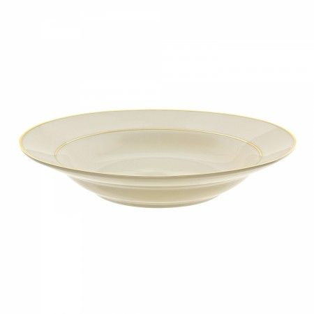 10 Strawberry Street CGLD0003 10 oz. Cream Double Gold Line Rim Soup Bowl