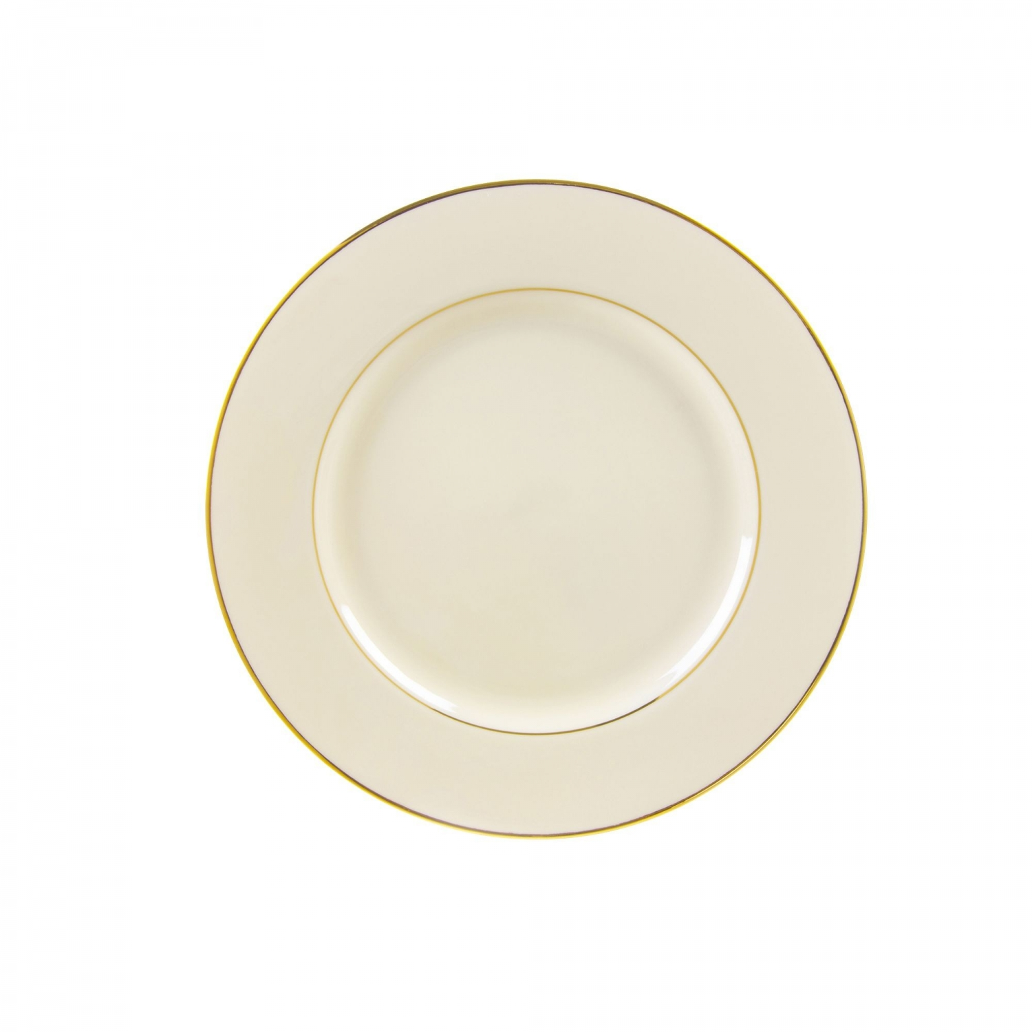 "10 Strawberry Street CGLD0004 7-3/4"" Cream Double Gold Line Salad / Dessert Plate"