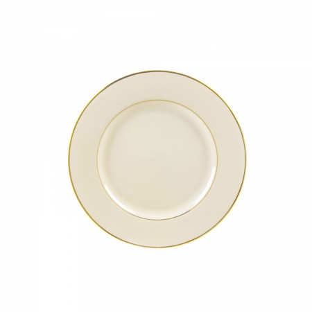 """10 Strawberry Street CGLD0005 6-3/4"""" Cream Double Gold Line Bread and Butter Plate"""