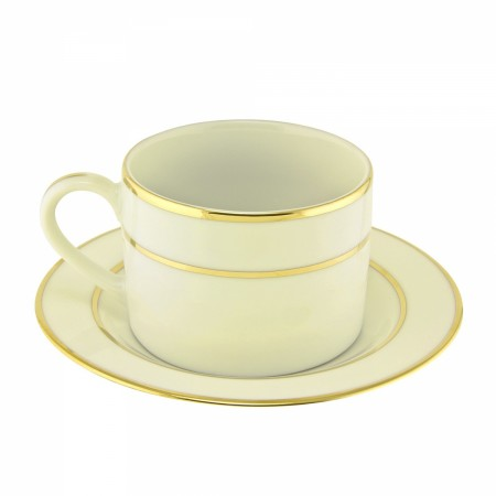 10 Strawberry Street CGLD0009 6 oz. Cream Double Gold Line Can Cup and Saucer