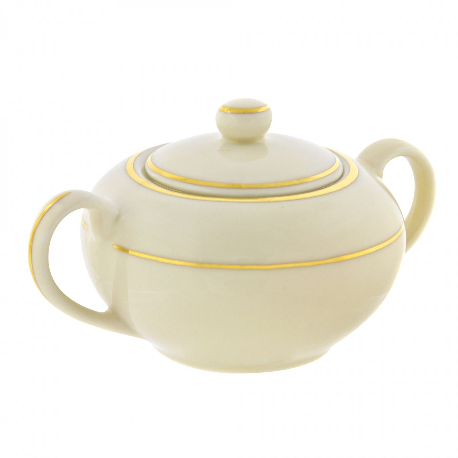 10 Strawberry Street CGLD0018 8 oz. Cream Double Gold Line Sugar Bowl with Lid