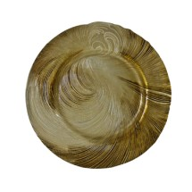 """10 Strawberry Street CYC-340BEI-GOLD  Cyclone Beige / Gold Glass Charger Plate 13-1/4"""" - 6 pcs"""