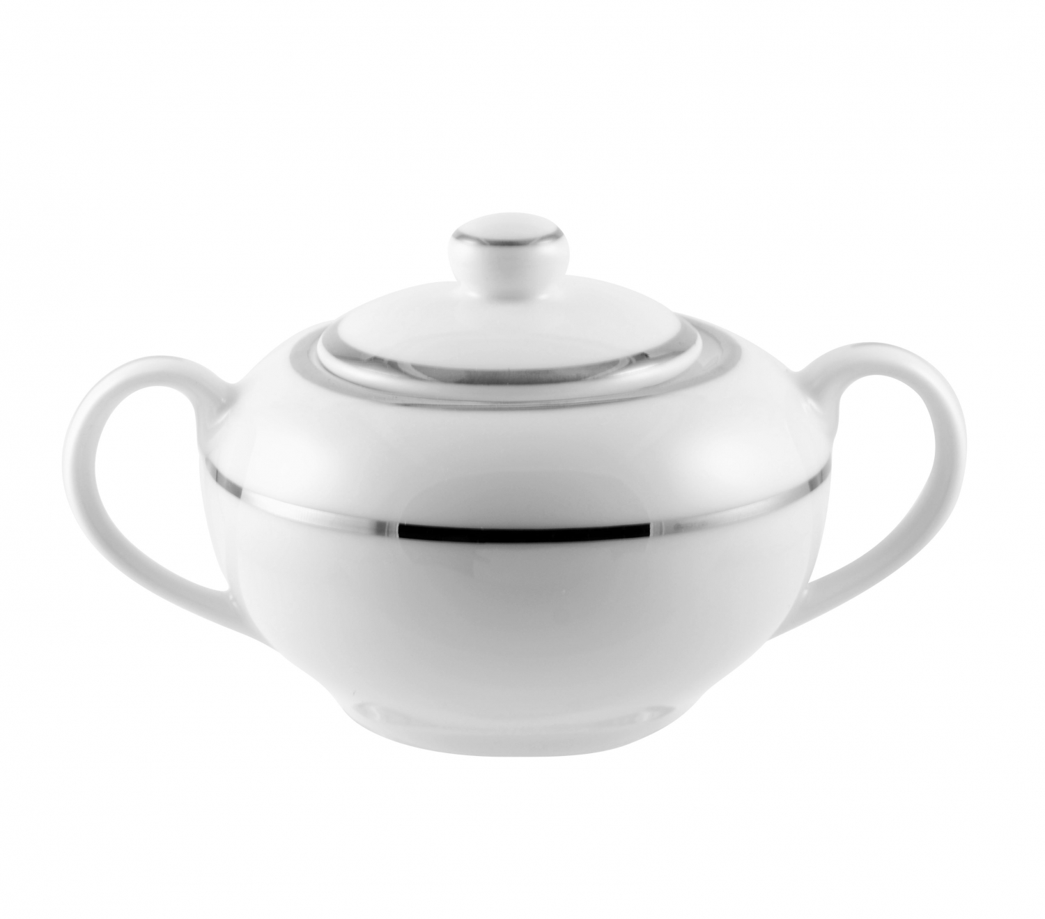 10 Strawberry Street DSL0018 8 oz. Double Silver Line Sugar Bowl With Lid