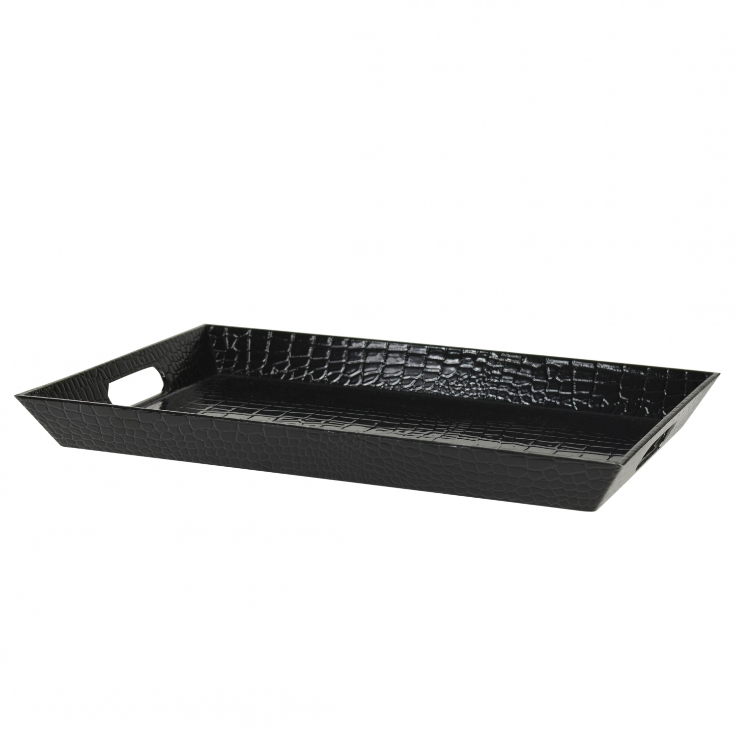 10 Strawberry Street GATR-BLKREC Black Rectangular Gator Serving Tray 18