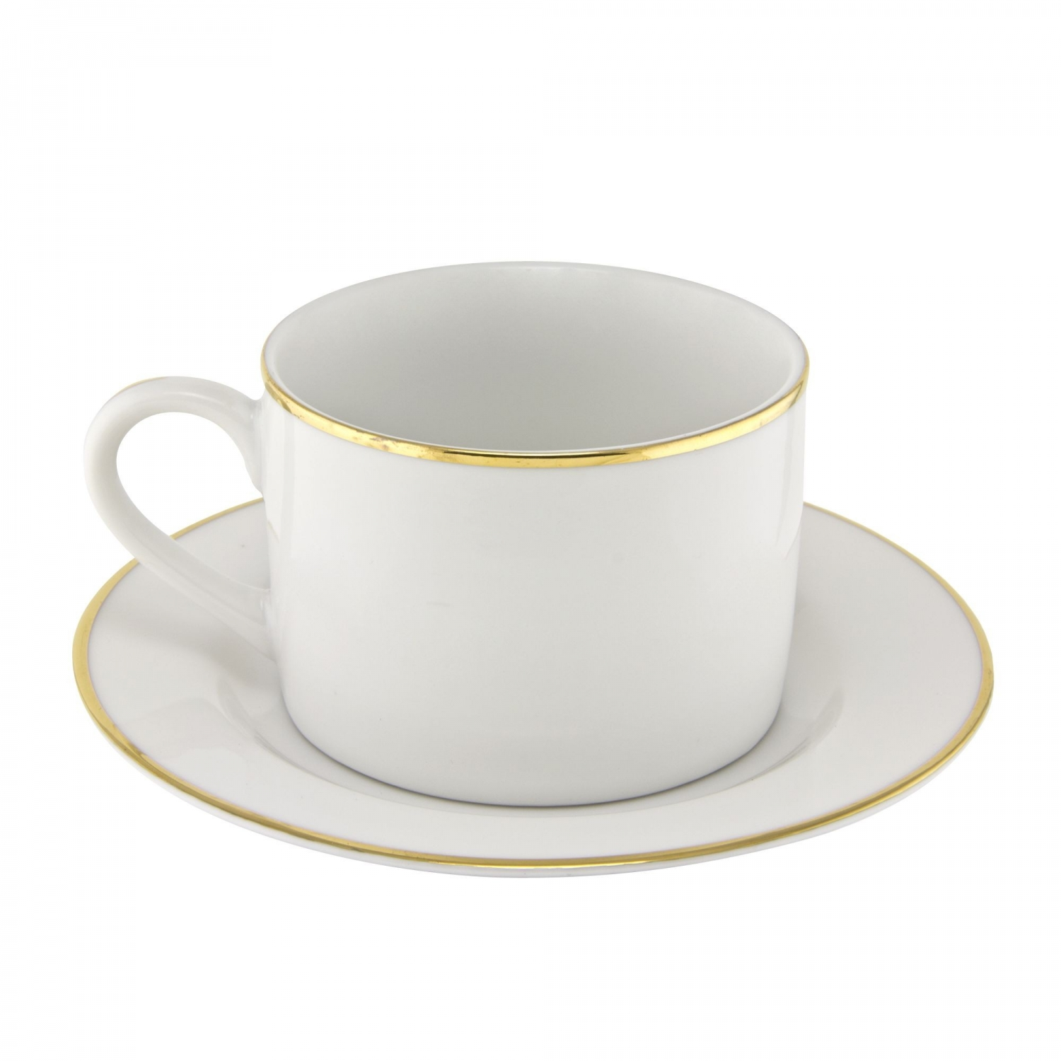 10 Strawberry Street GL0009 6 oz. Gold Line Rim Can Cup and Saucer
