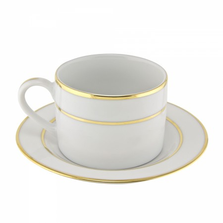 10 Strawberry Street GLD0009 6 oz. Double Gold Line Cup and Saucer