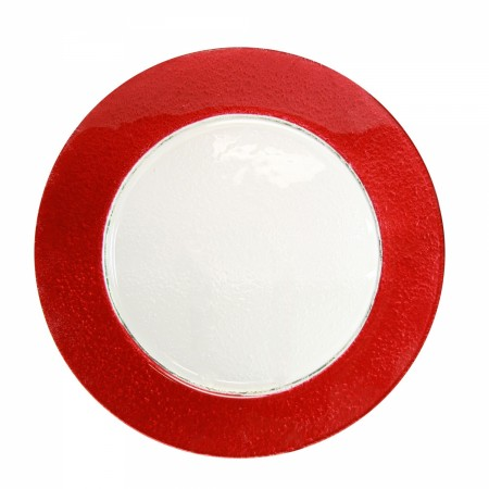 """10 Strawberry Street HAL-RED340  Colored Rim Red Rim Glass Charger Plate 13"""" - 12 pcs"""