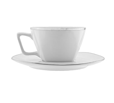 10 Strawberry Street LOTUS-9SL 6 oz. Lotus Silver Line Cup and Saucer