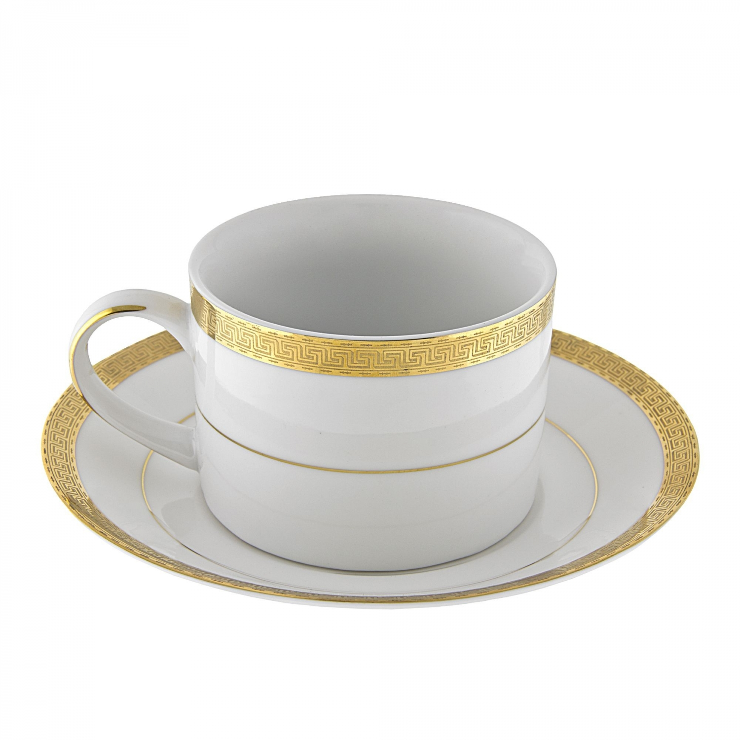 10 Strawberry Street LUX-9G 8 oz. Luxor Gold Can Cup and Saucer Set