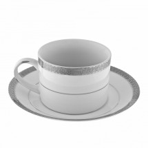 10 Strawberry Street LUX-9P 8 oz. Luxor Platinum Can Cup and Saucer Set