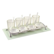 10 Strawberry Street MMX-13GLSAPP Mise En Bouche 13 Piece Glass Rectangular Appetizer Set - 6 pcs