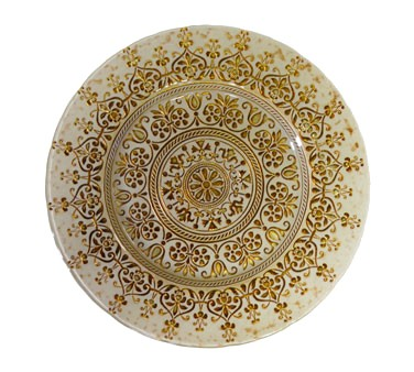 "10 Strawberry Street MON-340BEI-GOLD Monaco Beige / Gold Glass Charger Plate 13-1/4""  - 6 pcs"