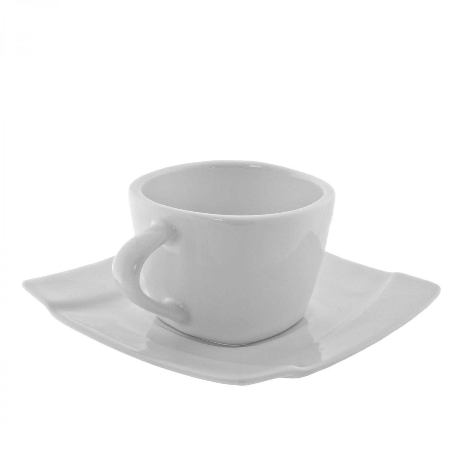 10 Strawberry Street NOU-9SQ 5 oz. Nouve Square White Cup and Saucer