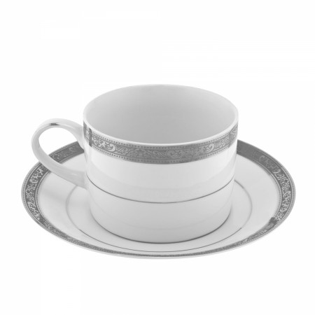10 Strawberry Street PAR-9P Paradise Platinum Can Cup and Saucer Set 8 oz.