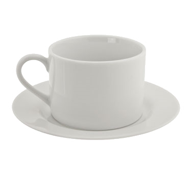 10 Strawberry Street RB0009 6 oz. Classic White Can Cup and Saucer Set