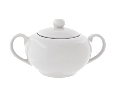 10 Strawberry Street RB0018 8 oz. Classic White Sugar Bowl With Cover
