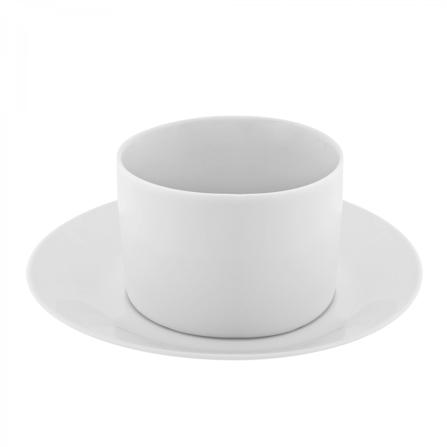 10 Strawberry Street RW0009NOHANDLE 8 oz. Royal White Can Cup and Saucer Set - 24 pcs