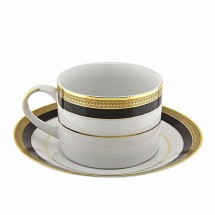 10 Strawberry Street SAH-9BK Sahara Black Can Cup and Saucer Set 8 oz.