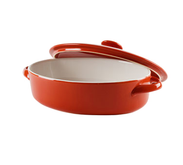 10 Strawberry Street SIENA-10OVLCVCSS 1.75 Qt. Red Oval Baking Dish With Lid - 4 pcs