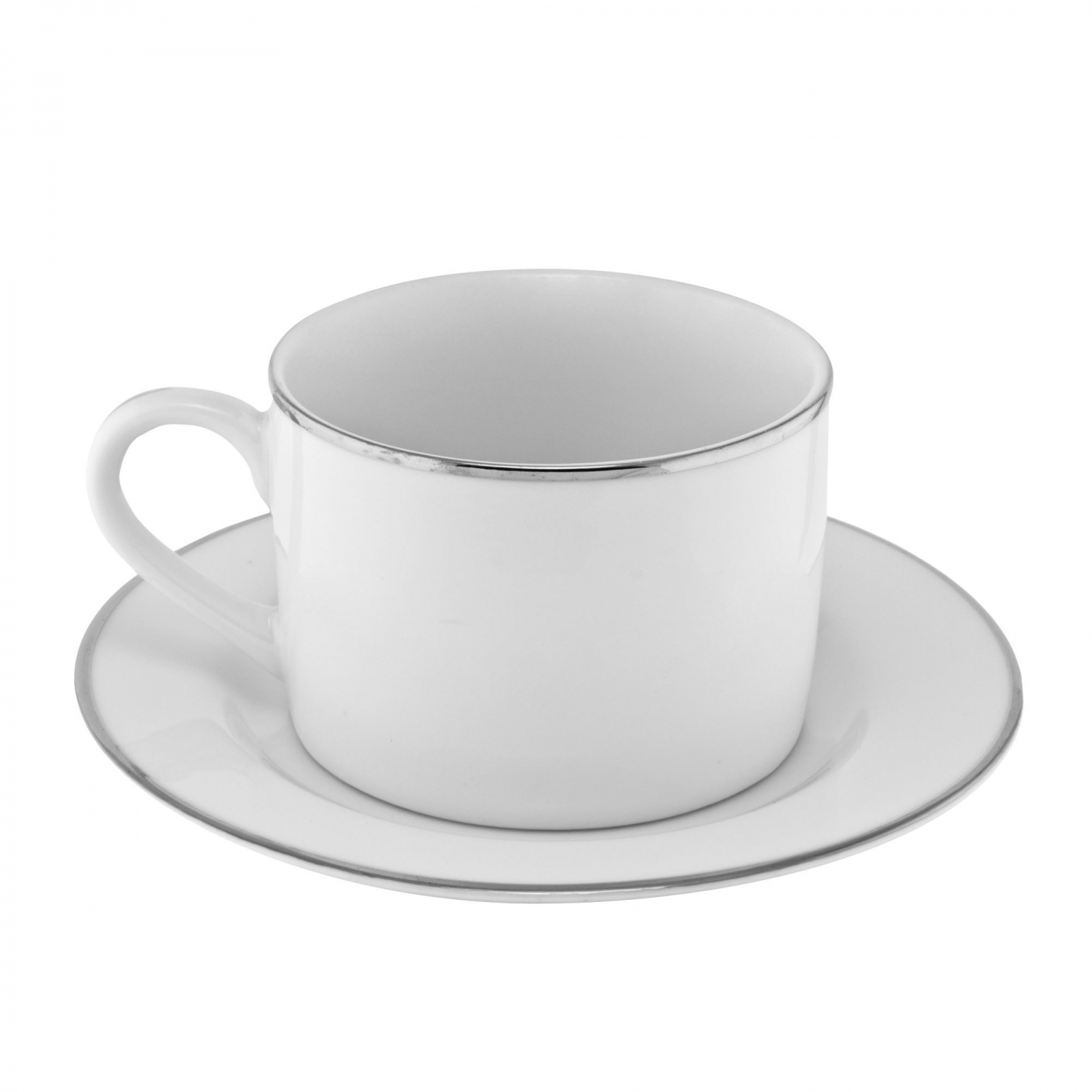 10 Strawberry Street SL0009 Silver Line Can Cup and Saucer 6 oz.