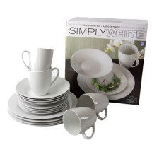 10 Strawberry Street SM-1600RD-SW Simply White Round 16-Piece Dinnerware Set - 2 sets / case