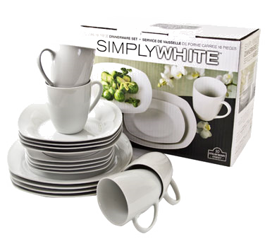 10 Strawberry Street SM-1600SQS-SW simply White Square 16-Piece Dinnerware Set - 2 sets / case