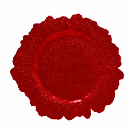"10 Strawberry Street SPR340 Sponge Red Glass Charger Plate 13-1/4""  - 12 pcs"