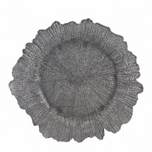 """10 Strawberry Street SPS340 Sponge Silver Glass Charger Plate 13-1/4""""  - 12 pcs"""