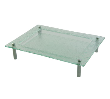 10 Strawberry Street TAH-12-16REC Tahoe Rectangular Glass Platter with Chrome Feet 12