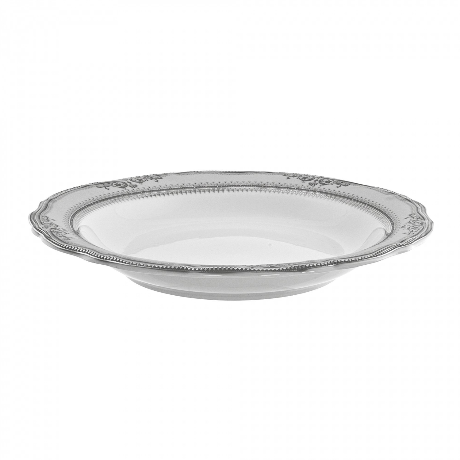 10 Strawberry Street VAN-3P Vanessa Platinum Rim Soup Bowl 9-1/4""