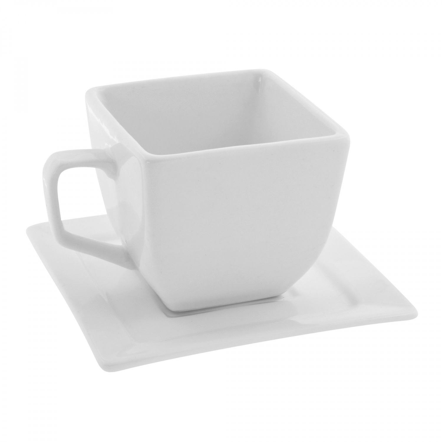 10 Strawberry Street WTR-CUP 4 oz. Whittier Square White Cup and Saucer - 24 pcs