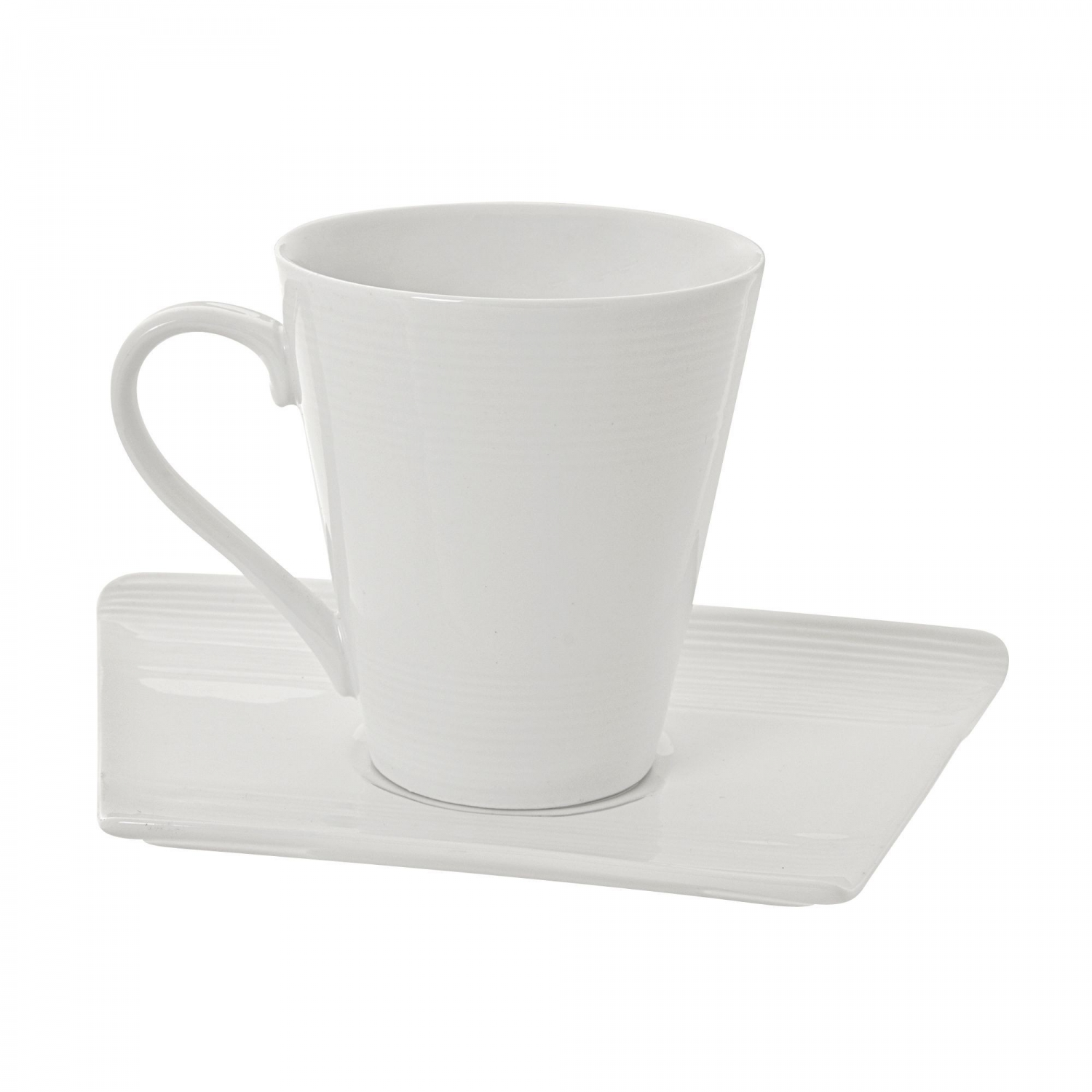 10 Strawberry Street WTR-CUPZEN 8 oz. Whittier Zen Trapezoid Cup and Saucer - 32 pcs