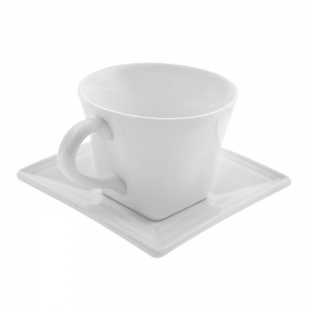 10 Strawberry Street WTR-FLRSQCUP Whittier Square Flared White Cup and Saucer 8 oz.