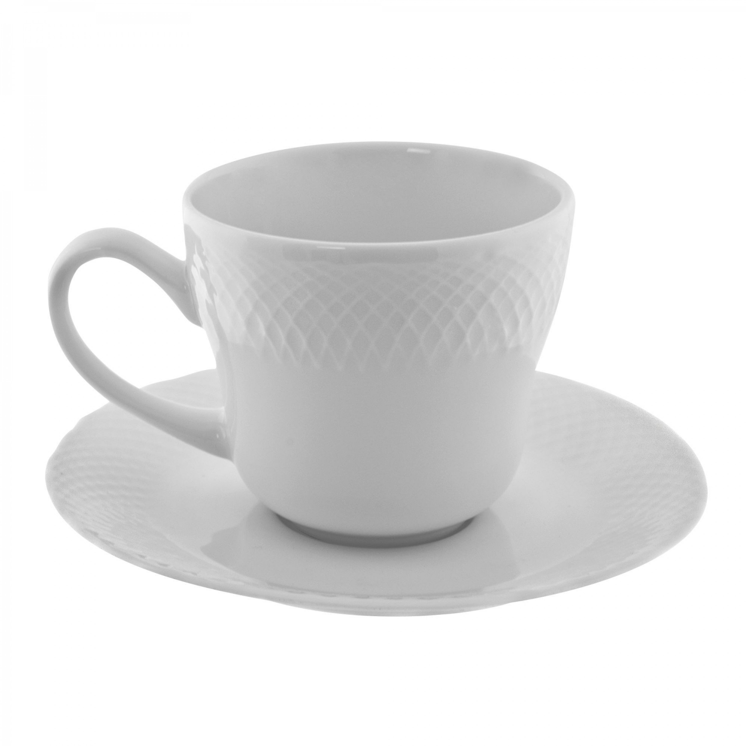 10 Strawberry Street WW0009 White Wicker Cup and Saucer 7-3/4 oz.