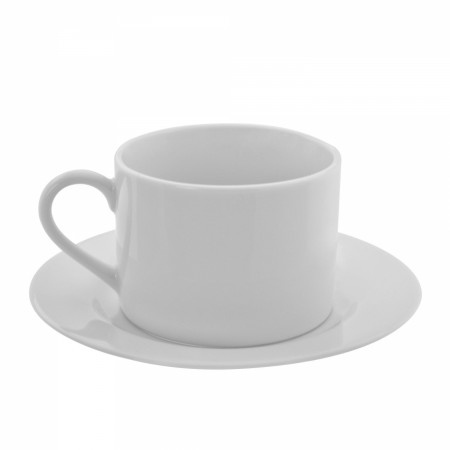 10 Strawberry Street ZW-9 9 oz. Z-Ware White Porcelain Can Cup and Saucer - 24 pcs