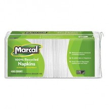 Marcal 100% Recycled Luncheon Napkins, White, 400/Pack, 6 Packs/Carton