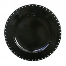 The Jay Companies A467BK Round Black Jeweled Rim Charger Plate 13""