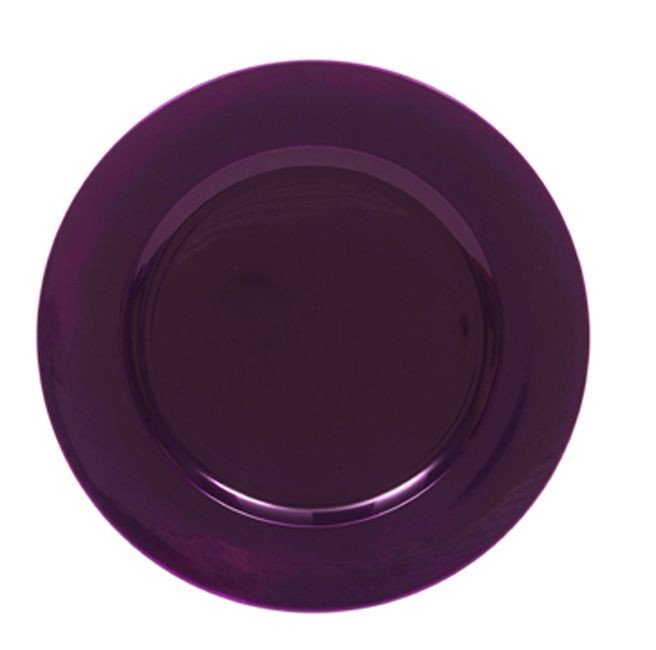 The Jay Companies 1320085 Round Metallic Purple Charger Plate 13""